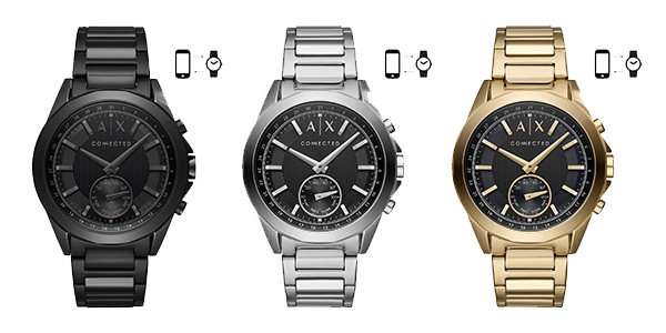 armani exchange compl te sa collection de montres connect es hybrides actualites hightech. Black Bedroom Furniture Sets. Home Design Ideas