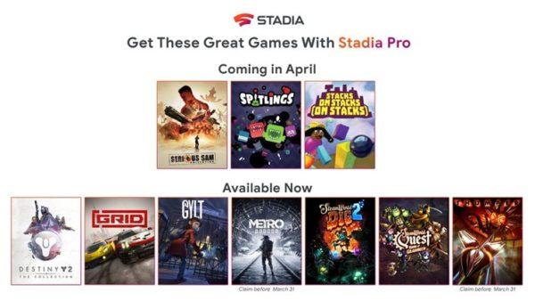 Stadia – Des jeux gratuits pour les abonnés Stadia Pro
