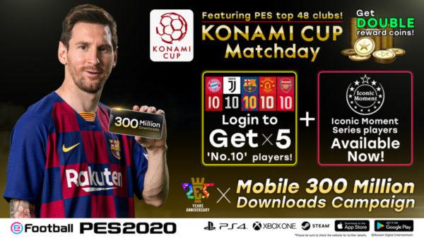 eFootball PES 2020 Mobile 300 millions téléchargements