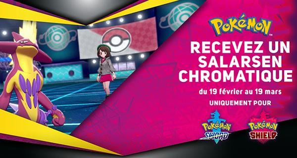 Pokémon Épée et Pokémon Bouclier - Recevez un Salarsen chromatique
