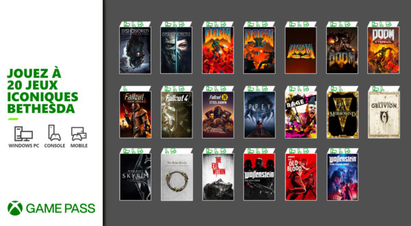 Xbox Game Pass - 20 jeux Bethesda