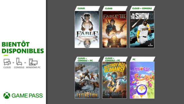 Xbox Game Pass : Fable Anniversary, MLB The Show 21